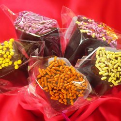 Chocolate Coated Vegan Marshmallow Lolly with Natural Sprinkles