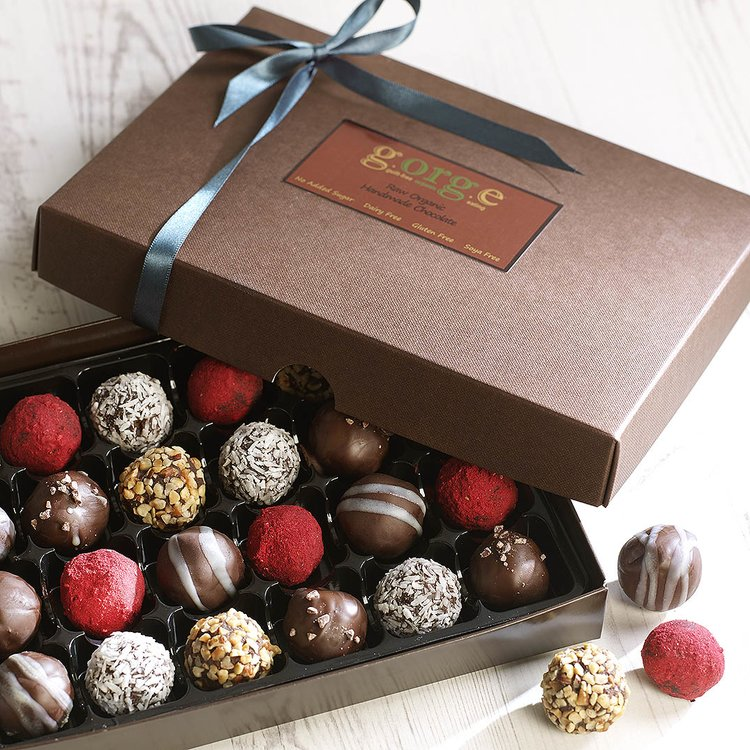 24 'Classic Selection' Raw Organic Chocolate Truffle Gift Box (Dairy Free, Vegan)