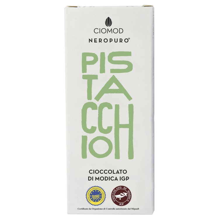 Pistachio Modica Chocolate Bar I.G.P 100g (Dairy Free, Vegan)