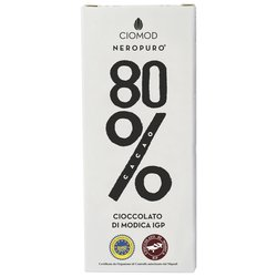 80% Cacao Dark Modica Chocolate Bar I.G.P 100g (Dairy Free, Vegan)