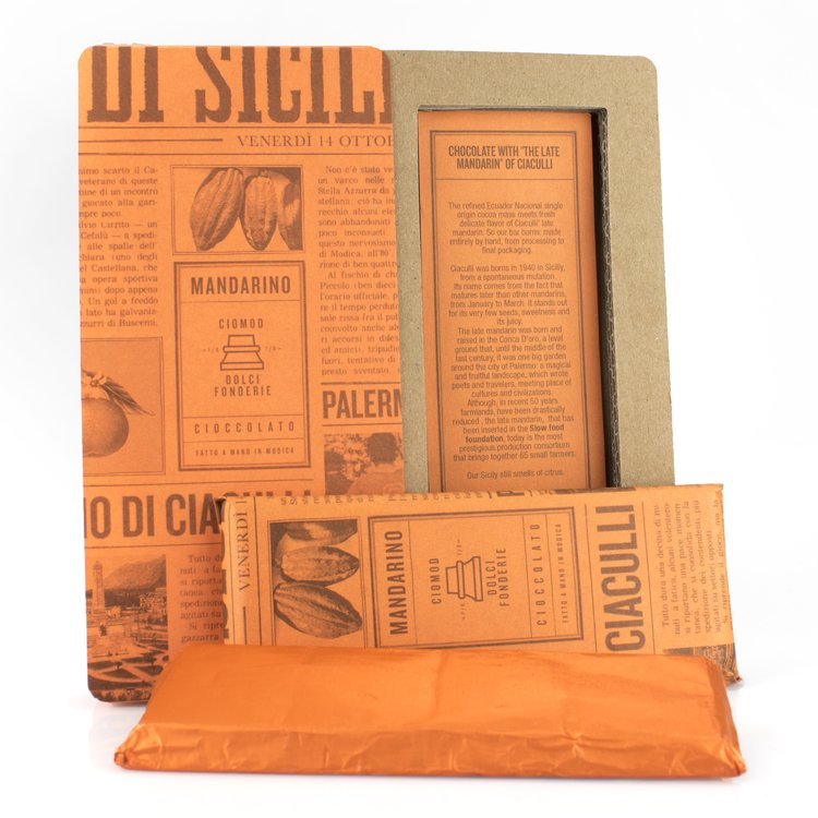 Handmade Ciaculli 'Bean to Bar' Modica Chocolate Bar with Late Mandarin 50g (Dairy Free, Vegan)
