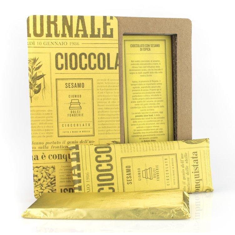 Handmade Modica Chocolate Bar with Ispica Sesame Seeds 50g (Dairy Free, Vegan)