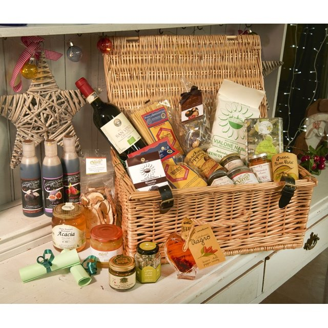 Luxury Italian Gourmet Wicker Gift Hamper Inc. Wine, Olive Oil & Speciality Italian Ingredients