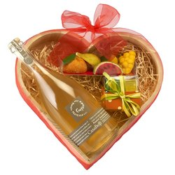 Prosecco, Chocolates & Marzipan in Heart Gift Box