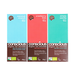 3 x Exclusive Organic Chocolate Bar Trio 50g (Coconut Crunch, Cranberry Kiss, Simply Saintly)