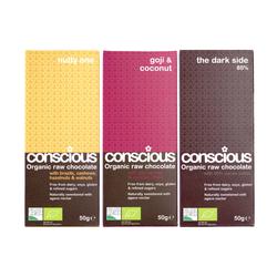 3 x Exotic Organic Chocolate Trio - Nutty, Goji & Darkside 85% 50g Each
