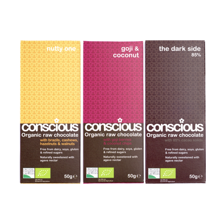 Exotic Organic Chocolate Trio - Nutty, Goji & Darkside 85% 3 x 50g
