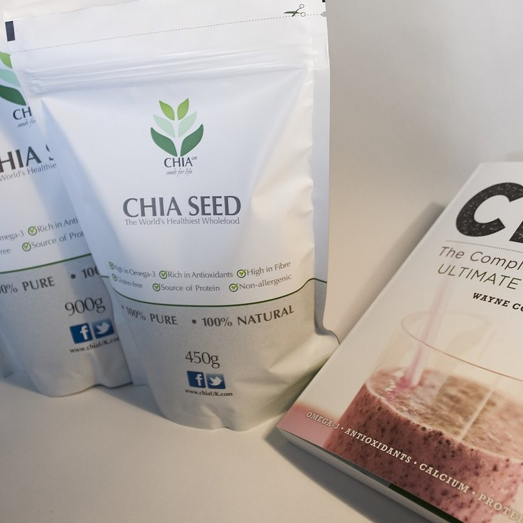 Gluten-Free Natural Chia Seeds 450g & 900g & The Complete Chia Book