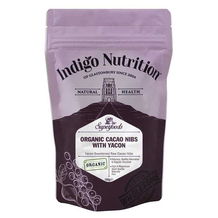 Organic Yacon Sweetened Raw Cacao Nibs 100g