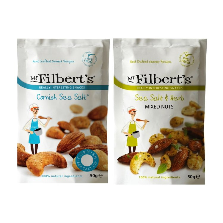 Salty Duo Mixed Nuts (Sea Salt & Herb, Cornish Sea Salt) By Mr Filbert's