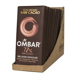 Organic 72% Dark Raw Chocolate Bar 10 x 35g