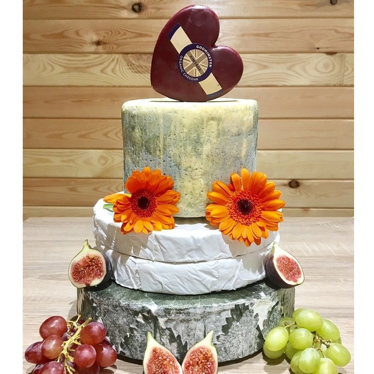 Heart-Topped Cheese Cake Tower with Blue, Brie, Cornish Yarg & Godminster Heart Shaped Cheddar (For Weddings & Parties)