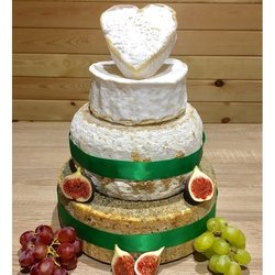 Heart-Topped Cheese Cake Tower with Pierre Robert, Whole Blue, Whole Farmhouse Cheddar & Creamy Neufchatel Heart (For Weddings & Parties)
