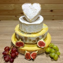 Heart-Topped Cheese Cake Tower with Pierre Robert, Half Blue, Half Farmhouse Cheddar & Creamy Neufchatel Heart (For Weddings & Parties)