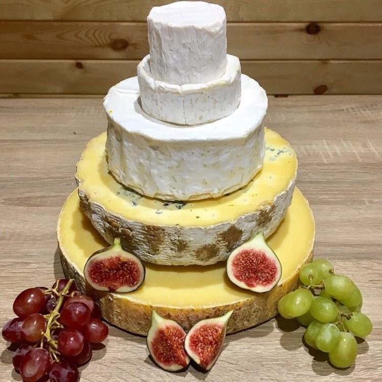 Cheese Cake Tower with St Thomas Goat's, Camembert, Pierre Robert & Sussex (For Weddings & Parties)