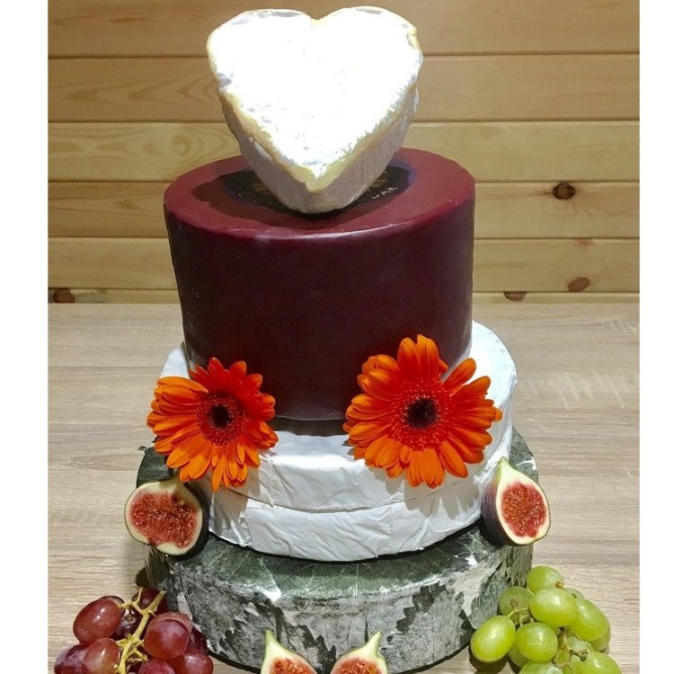 Heart-Topped Cheese Cake Tower with Godminster Organic Cheddar, Brie, Yarg & Creamy Neufchatel Heart (For Weddings & Parties)
