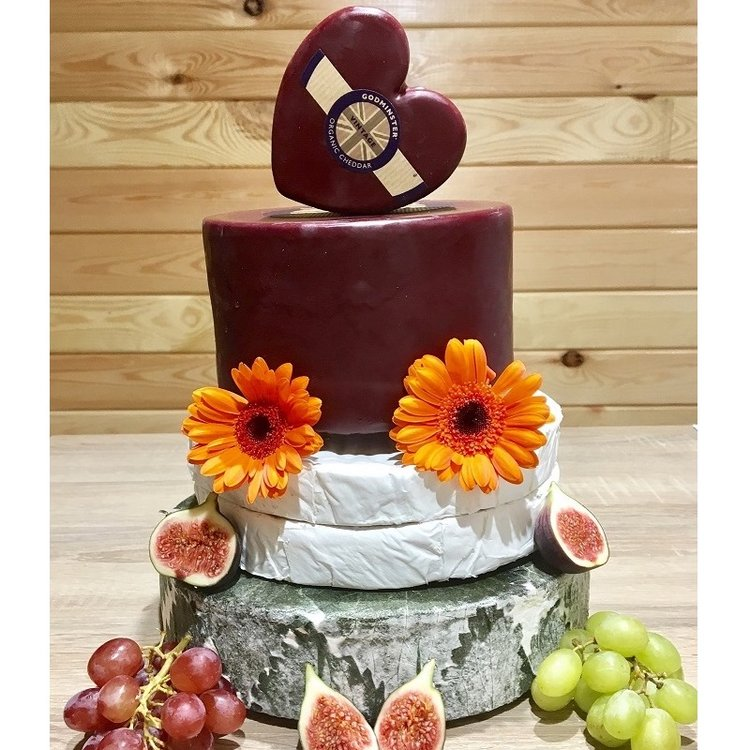 Heart-Topped Cheese Cake Tower with Organic Cheddar, Brie & Yarg & Godminster Heart Shaped Cheddar (For Weddings & Parties)