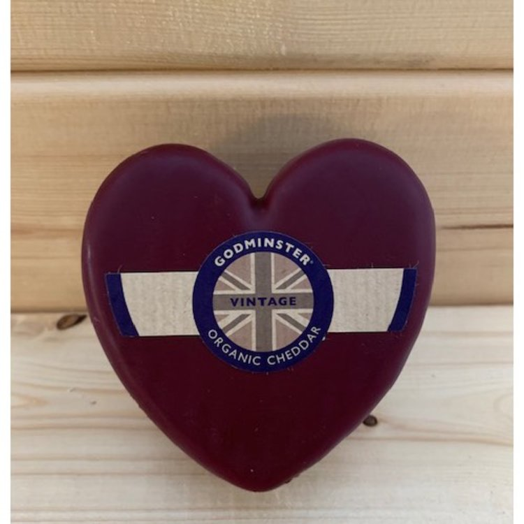 200g Heart Shaped Organic Vintage Cheddar Cheese by Godminster