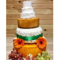 Cheese Cake Tower with St Thomas Goat's, Camembert, Smoked Godminster, Blue & Soft Cheese (For Weddings & Parties)