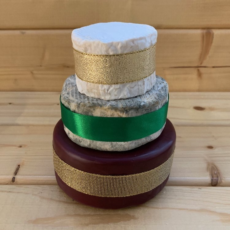 Mini Cheese Cake Tower with St Thomas Goat's, Blue & Godminster Cheddar (For Weddings & Parties)