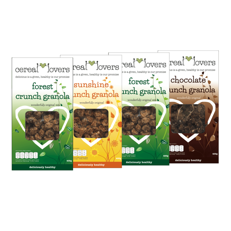 4 Boxes of Crunchy Granola - Mixed Selection (4 x 400g) - 'Forest Crunch', 'Sunshine Crunch' & 'Chocolate Crunch'