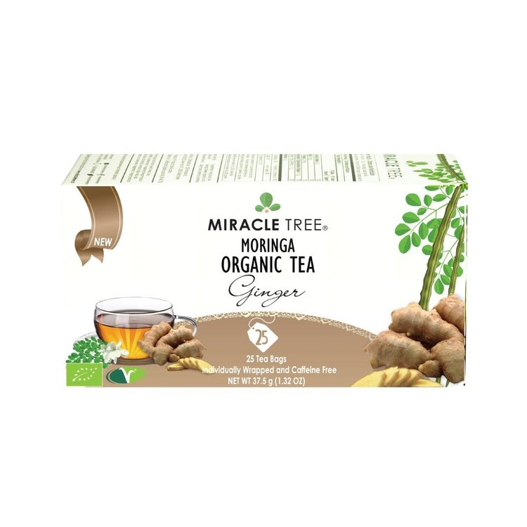 Organic Ginger Moringa Tea 2 x 25 Teabags (Get 1 Lemon Pack Free!)