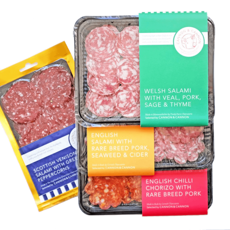 British Sliced Charcuterie Selection Inc. Chorizo & Salami by Cannon & Cannon 4 x 60g