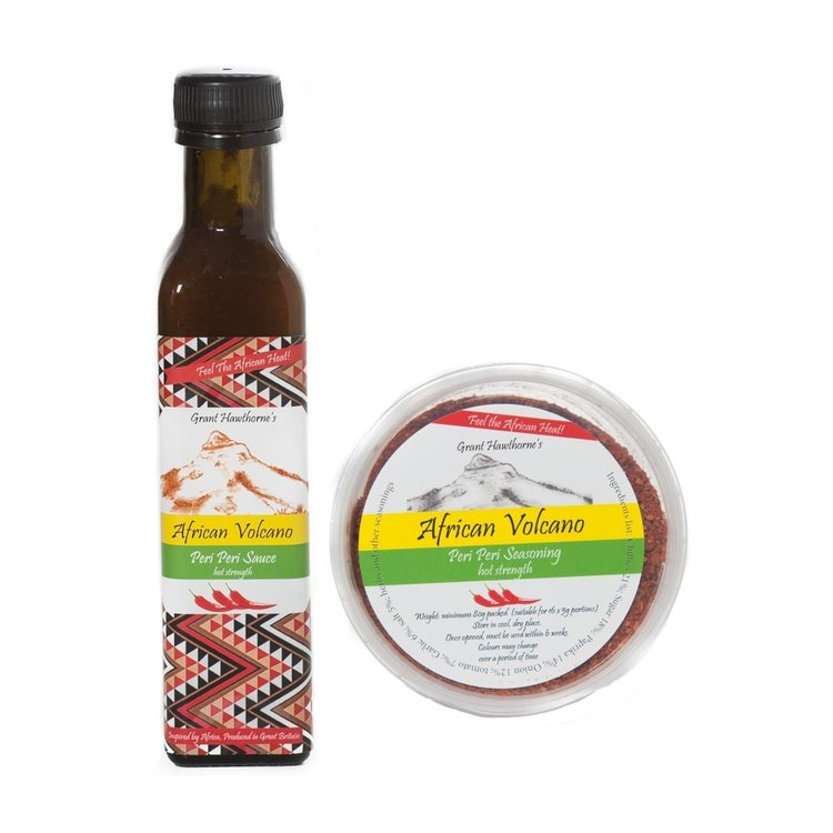 Peri Peri African Sauce & Rub - Hot 240ml & 80g (Handmade, for BBQ, Meat, Vegetables)