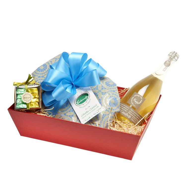 Italian Easter Celebration Hamper Inc. Colomba Easter Cake, Prosecco and Chocolates