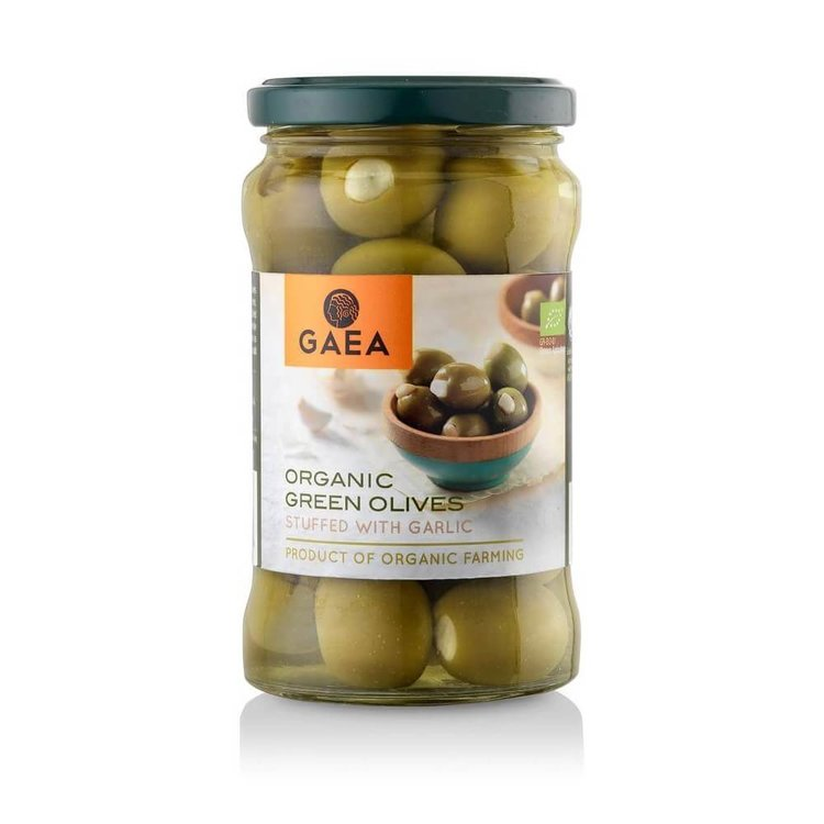 Organic Green Olives Stuffed With Garlic 295g