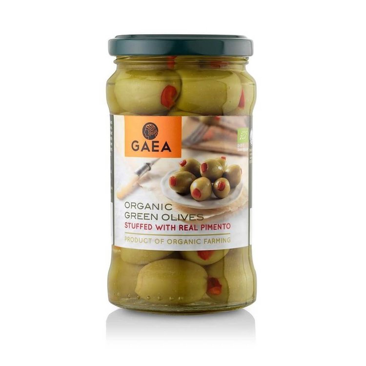 Organic Green Olives Stuffed with Pimento 295g