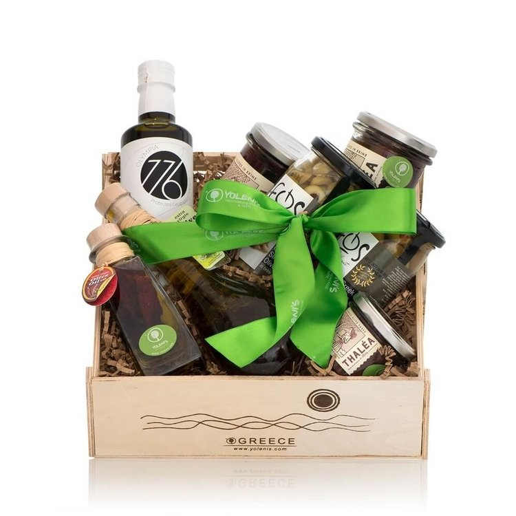 Greek Olives and Olive Oil Gift Crate