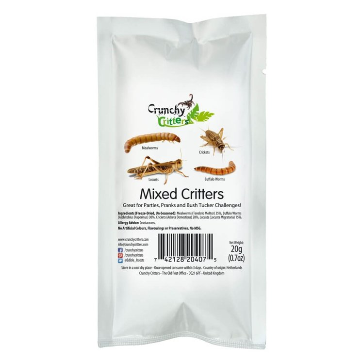 Mixed Edible Insects (Mealworms, Buffalo Worms, Crickets & Locusts) 20g