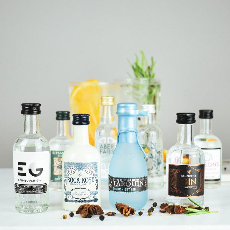 British Gin Tasting Gift Set with 8 Artisan & Craft Gins (Inc. Tarquin's Cornish Gin)