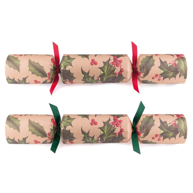 12 Eco-Friendly Holly Christmas Crackers (Plastic Free)