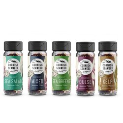 Organic Cornish Seaweed Flakes Shaker Set Inc. Dulse, Sea Salad & Kelp Flakes 5 x 40g