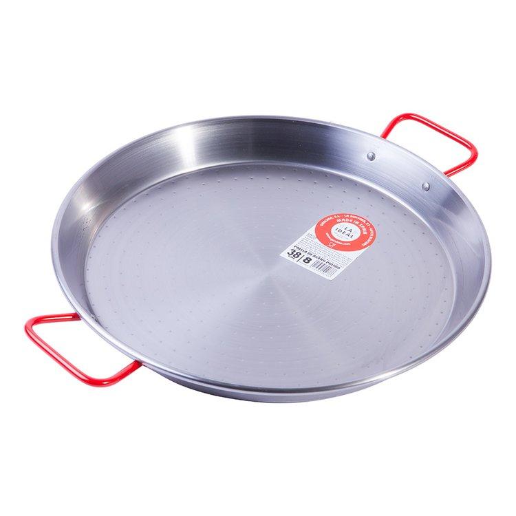 8 Portion Polished Steel Spanish Paella Pan