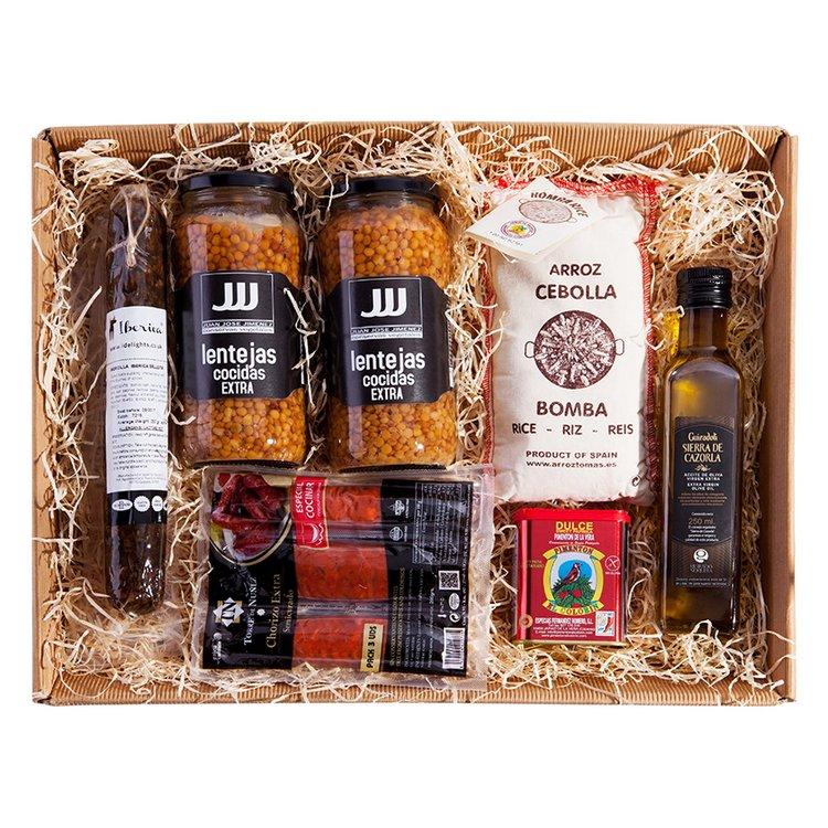 'La Lentejada' Spanish Cooking Gift Set Inc. Extra Virgin Olive Oil, Paprika, Morcilla & Chorizo