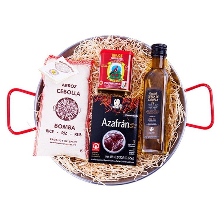 'La Paella' Spanish Cooking Gift Set Inc. Polished Steel Spanish Paella Pan, Bomba Rice & Saffron