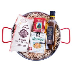 'La Paella Marinera' Spanish Seafood Paella Cooking Gift Set Inc. Polished Steel Spanish Paella Pan & Bomba Rice