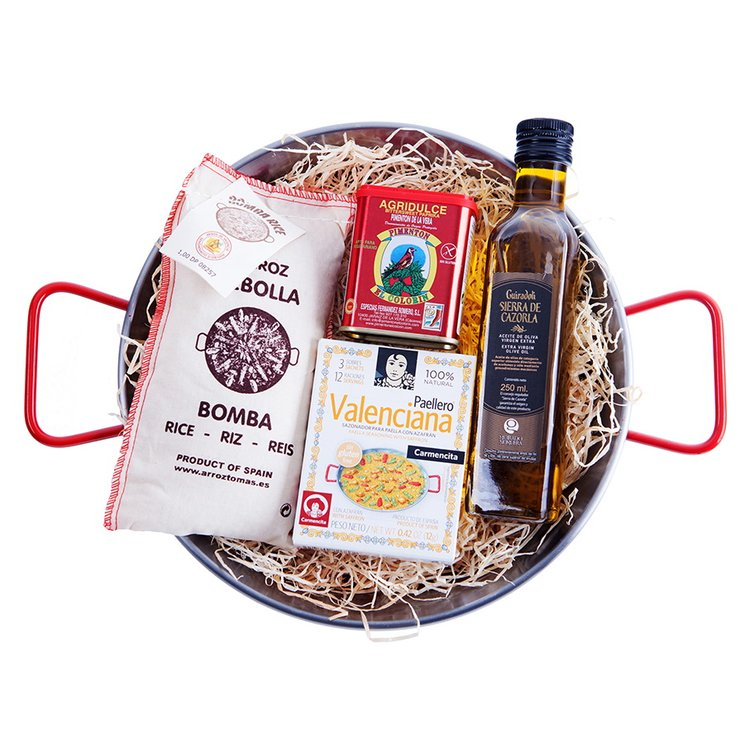 'La Paella Valenciana' Spanish Chicken Paella Cooking Gift Set Inc. Polished Steel Spanish Paella Pan & Bomba Rice