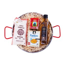 'La Paella Mixta' Spanish Cooking Gift Set Inc. Polished Steel Spanish Paella Pan & Bomba Rice