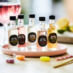 5 Miniature Flavoured Gins Set Inc. Strawberry, Lemon & Candyfloss Gins