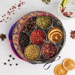 Gin Botanicals Set in Gift Tin & Silk Sari Wrap With 7 Infusion Botanicals