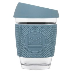 Blue Reusable Glass Coffee Cup 'Super Sonic' with Lid & Sleeve 12oz