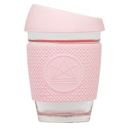 Pink Reusable Glass Coffee Cup 'Pink Flamingo' with Lid & Sleeve 12oz