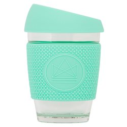 Green Reusable Glass Coffee Cup 'Free Spirit' with Lid & Sleeve 12oz