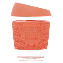 Orange Reusable Glass Coffee Cup 'Dream Believer' with Lid & Sleeve 12oz