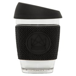 Black Reusable Glass Coffee Cup 'Rock Star' with Lid & Sleeve 12oz