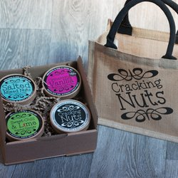 Nut Tub Selection Gift Box & Jute Bag Inc. Hand-Roasted Peanuts, Cashews & Almonds